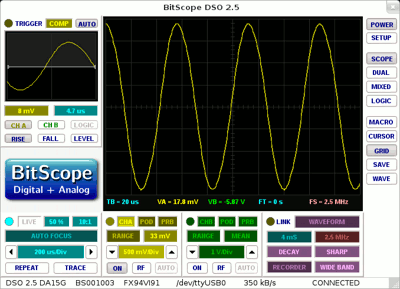 Repetitive display of a waveform sweep.